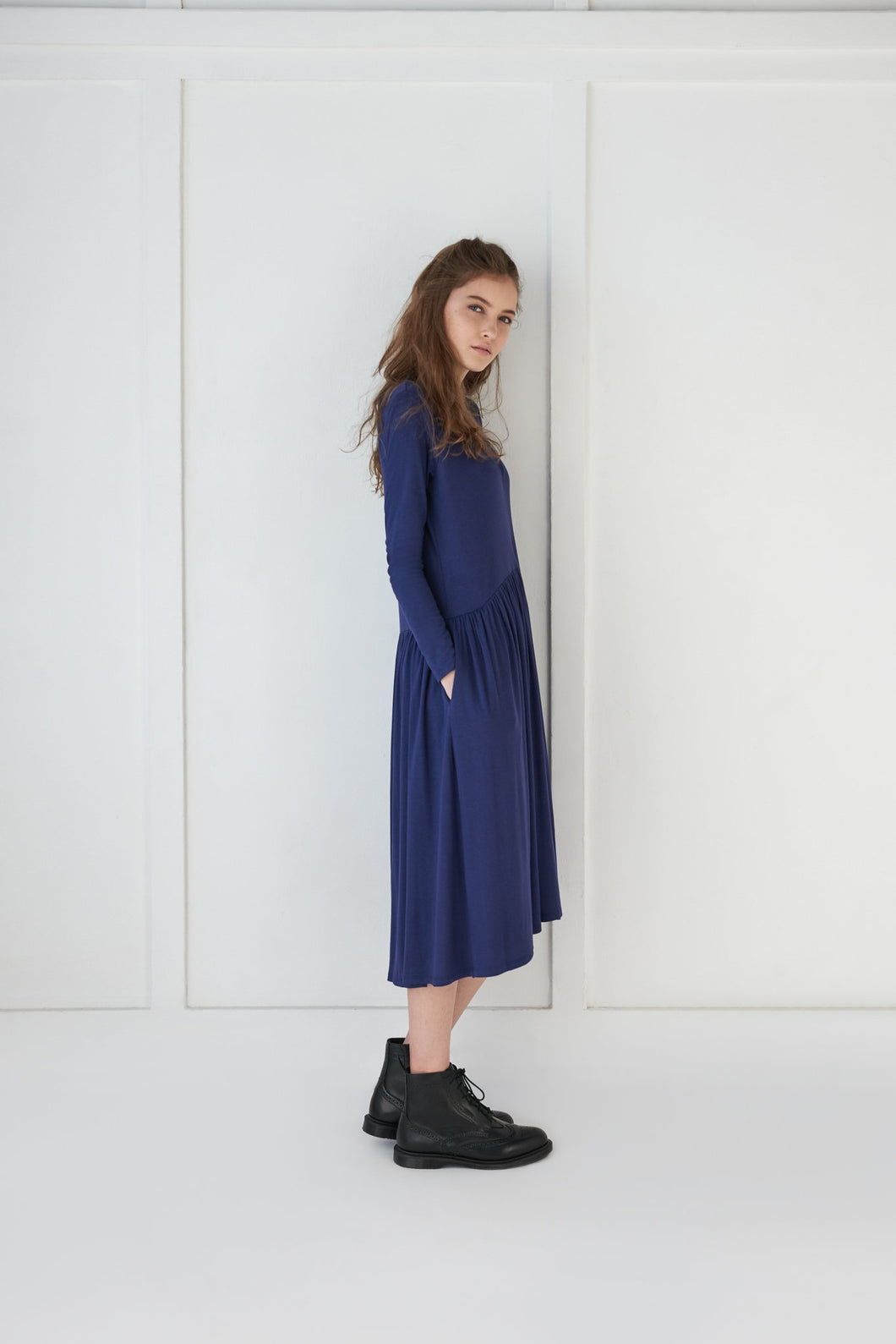 Blue Ribbed Dress - Unaya women's modest tops skirts dresses jewish girls conservative clothing fashion apparel