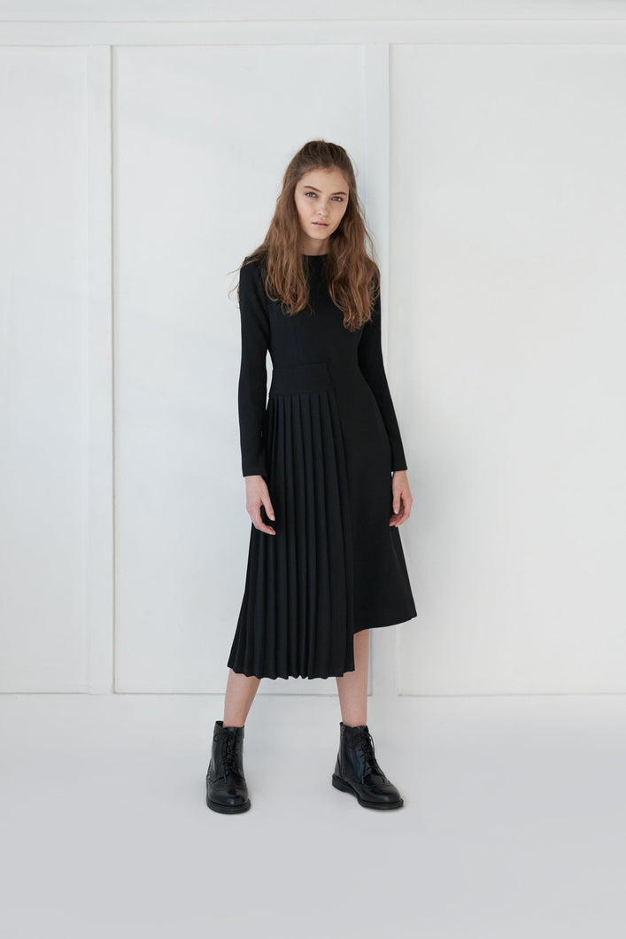 Pleated Overlay Dress - Unaya women's modest tops skirts dresses jewish girls conservative clothing fashion apparel