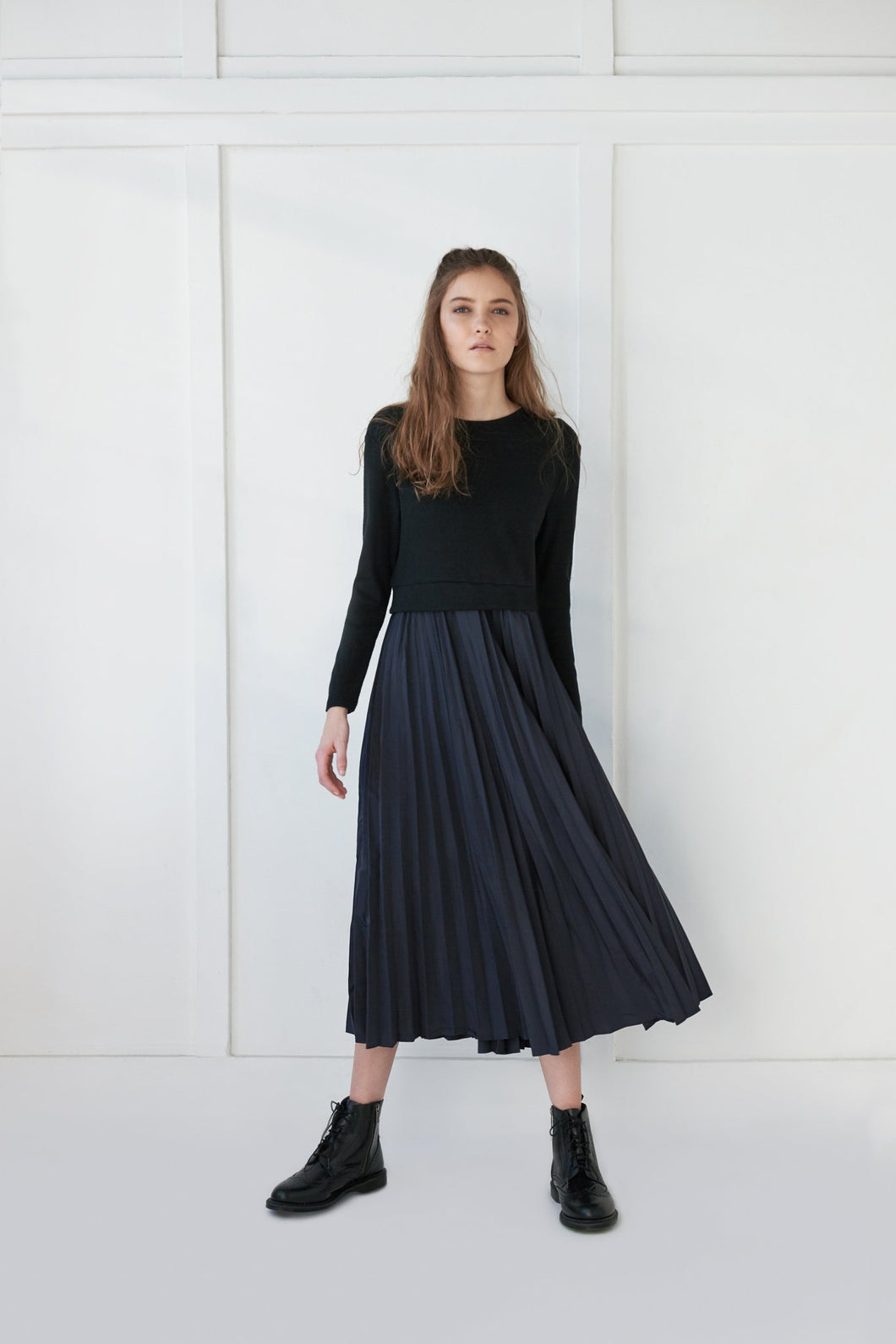 Pleated Midi Sweater Dress - Unaya women's modest tops skirts dresses jewish girls conservative clothing fashion apparel