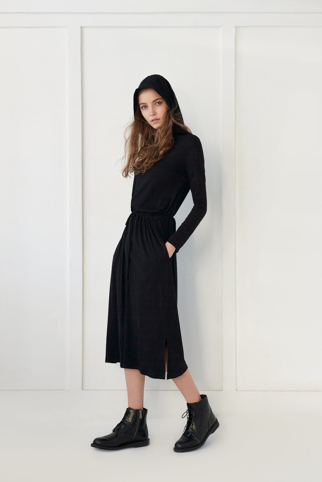 Black Hooded Dress - Unaya women's modest tops skirts dresses jewish girls conservative clothing fashion apparel