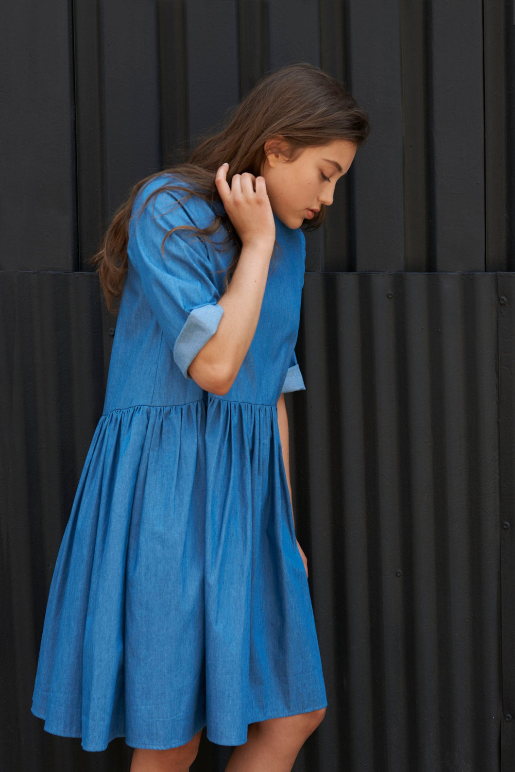 Denim Volume Dress - Unaya women's modest tops skirts dresses jewish girls conservative clothing fashion apparel