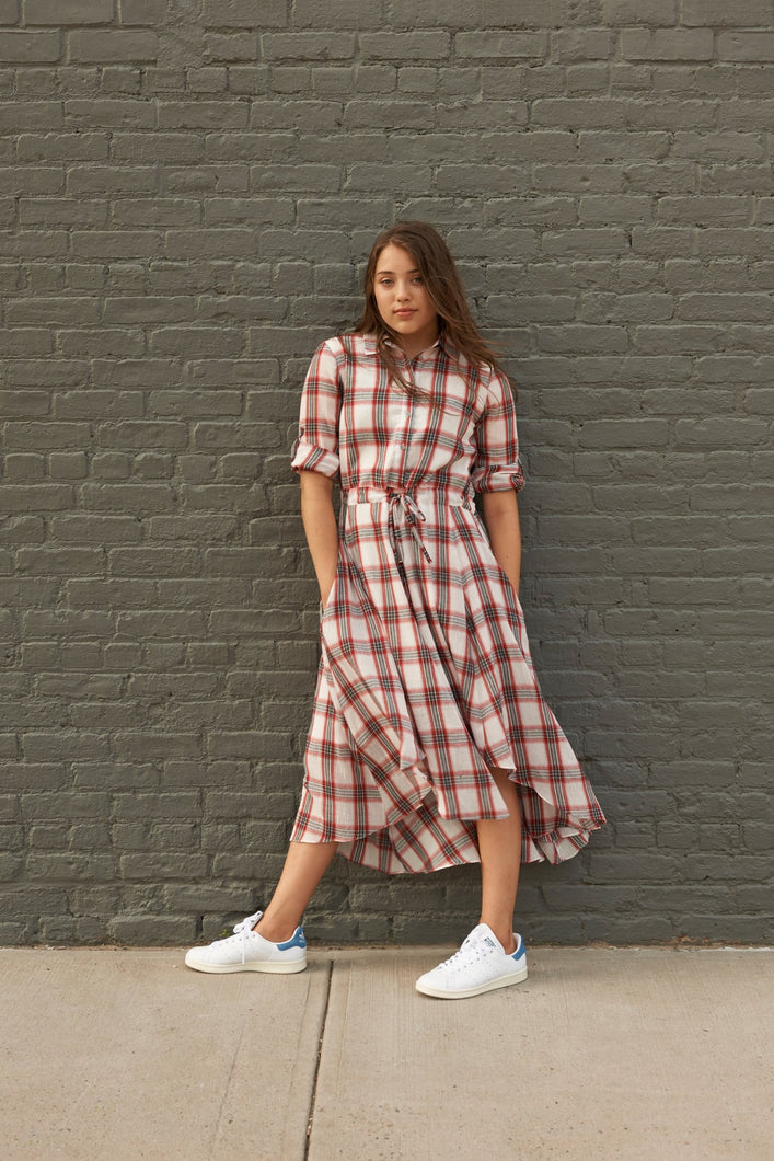 Plaid Shirt Dress - Unaya women's modest tops skirts dresses jewish girls conservative clothing fashion apparel