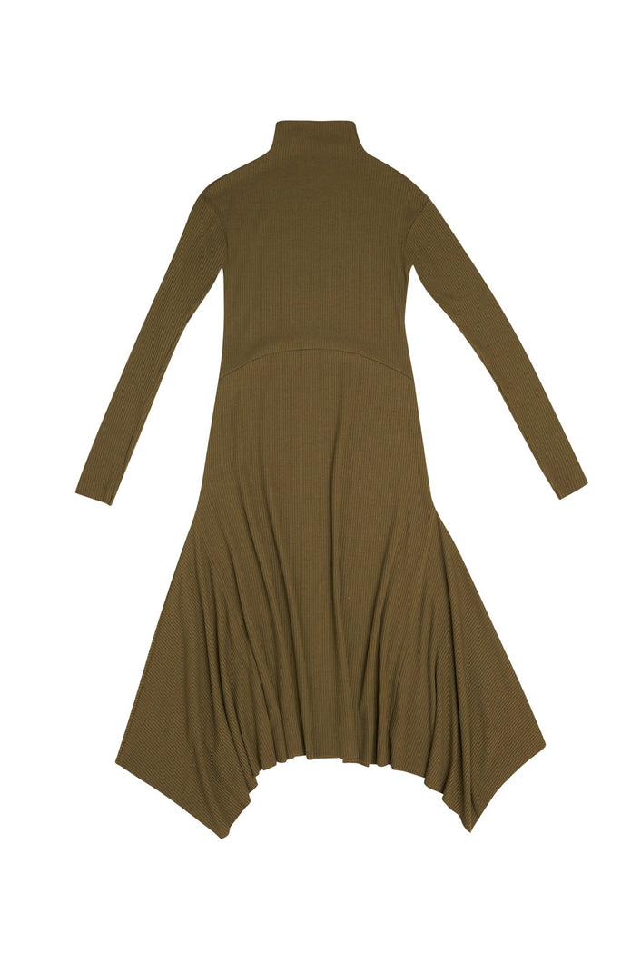 Olive Ribbed Sweater Dress - Unaya women's modest tops skirts dresses jewish girls conservative clothing fashion apparel