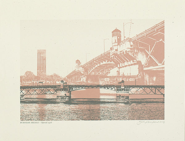 Burnside Bridge, Red, Pigment Print, 8.5x11, old version