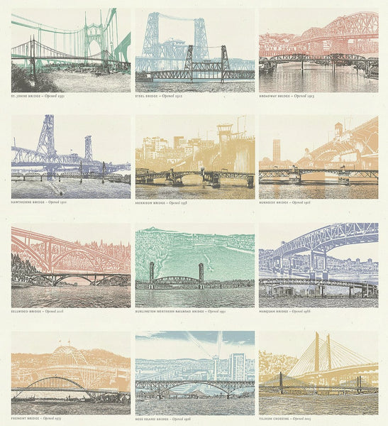 Portland Bridge Prints -- Color -- Set of 12 -- 8.5x11