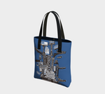 Portland Marquee totem tote Bag - Blue