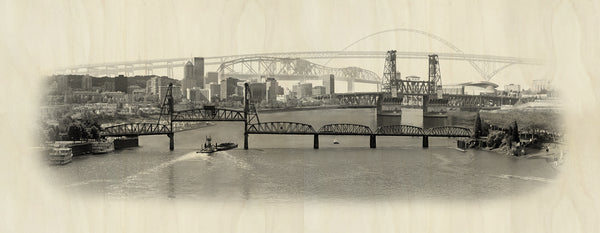 Crossing the Willamette - Wood Print