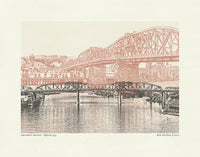 Portland Oregon Bridges -- Color Bridge Art Prints -- 8.5x11 & 11x14