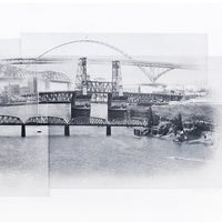 Portland Etching -- Crossing the Willamette -- Hand-Printed -- 35x16
