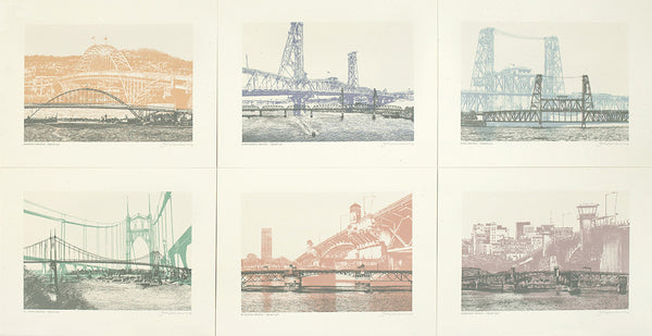Portland Bridge Prints -- Color -- Set of 6 -- 8.5x11