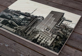 Skyline view of Portland with Doug Fir Lounge - Wood Print