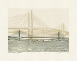 Portland Oregon Bridges -- Tan Bridge Art Prints -- 8.5x11 and 11x14