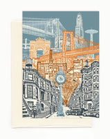 ON SALE!!! -- Layers of Brooklyn Notecard - New York - folded Greeting Card - Single Card or Set of 6