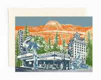 Portland Oregon Notecard -- Touring Downtown -- folded Greeting Card -- Single Card or Set of 6