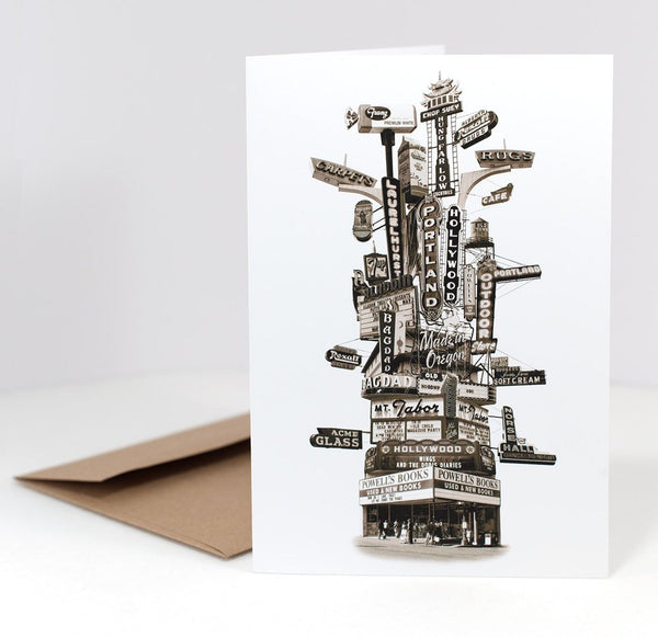 On Sale!! -- Portland Notecard -- Marquee Totem  --  5x7 folded Greeting Card -- Single or Set of 6