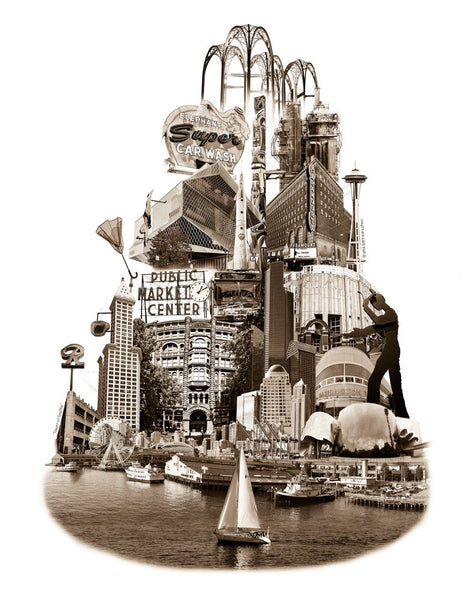 Seattle Art Print -- Tower of Seattle -- 8.5x11 and 11x14