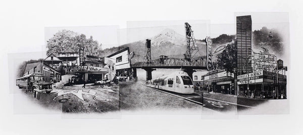 Portland Fine Art -- Portrait of Portland -- Original Art Print -- Photographic Etching -- Photography -- Oregon