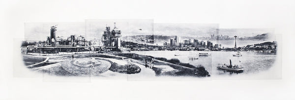 Seattle Fine Art -- Flying over Gasworks Park -- Leaning Tower of Portland -- Original Art Print -- Photographic Etching  -- Washington