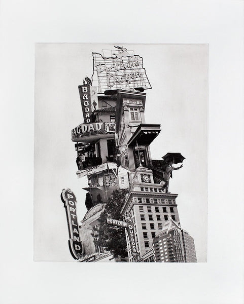 Portland Fine Art -- Leaning Tower of Portland -- Original Art Print -- Photographic Etching -- Photography -- Oregon