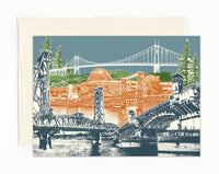 Portland Oregon Notecards -- Many Crossings in Bridgetown -- folded Greeting Card -- Single Card or Set of 6