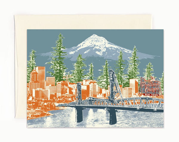 Portland Oregon Notecard -- Watching Over Portland -- folded Greeting Card - Single or Set of 6