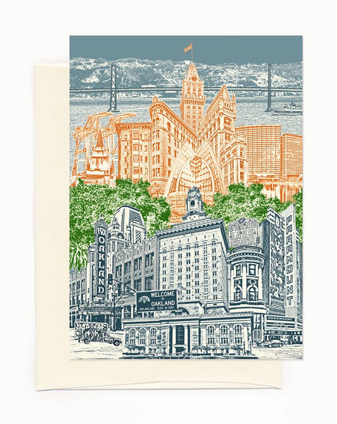 ON SALE!! -- Oakland, California Notecard - Cityscape - folded Greeting Card - full color - Single or Set of 6