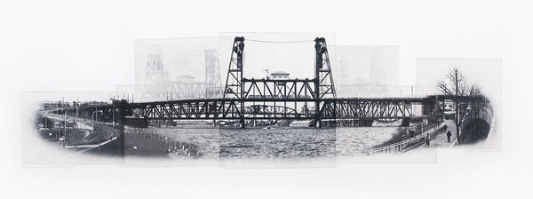 Portland Fine Art -- Traveling the Steel Bridge -- Original Art Print -- Photographic Etching -- Photography -- Oregon