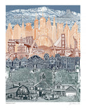 Travel America -- American Unity -- Art Print -- 8.5x11, 11x14, and 16x20 Poster of USA Landmarks