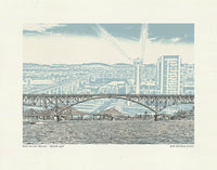 Portland Oregon Bridges -- Color Bridge Art Prints -- 8.5x11