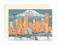 Seattle Notecard -- Seattle to Mt. Rainier -- folded Greeting Card -- Single or Set of 6 -- Seattle Washington