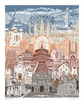 Travel the World -- Spiritual Unity -- Art Print -- famous churches, temples, and mosques -- 8.5x11, 11x14, and 16x20 Poster