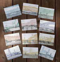NEW!! - Bridges of Portland, Oregon - Postcard Series - Set of 12 Cards - COLOR