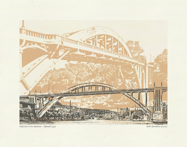 Oregon City Bridge Art Print -- 8.5 x 11
