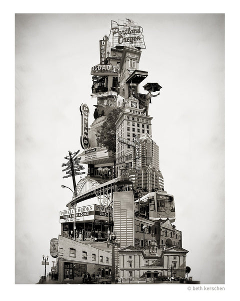 Portland Archival Pigment Print -- Tower of Portland -- Photomontage -- Limited Edition Fine Art Print -- Photo Collage