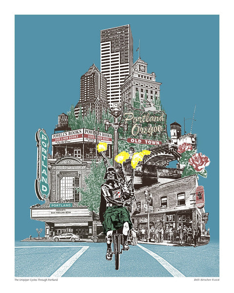 Portland Art Print – Unipiper Cycles through Portland