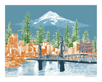 Portland Art Print – Watching Over Portland – Blue Skies