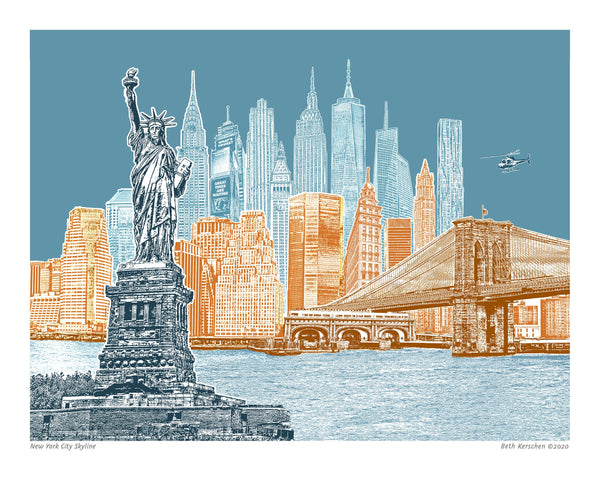 NYC Art Print – New York City Skyline – Blue Skies