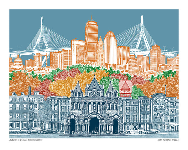Boston Art Print – Boston in Autumn – Blue Skies - Massachusetts