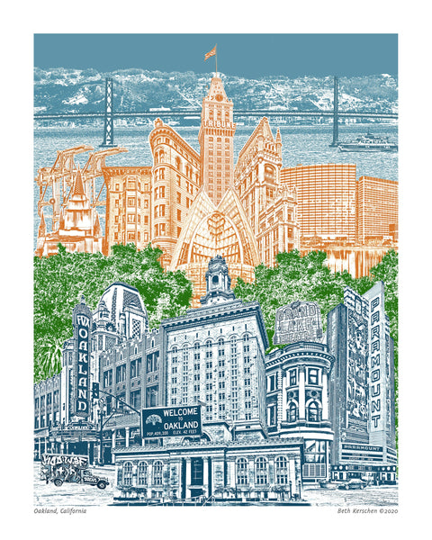 Oakland, California Art Print -- Blue Skies -- Wall Art -- Oakland Artwork