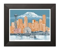 Seattle Art Print – Seattle to Mt. Rainier– Blue Skies