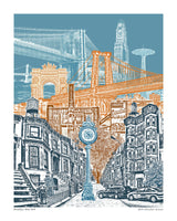 Brooklyn Art Print – Brooklyn New York Skyline – Blue Skies