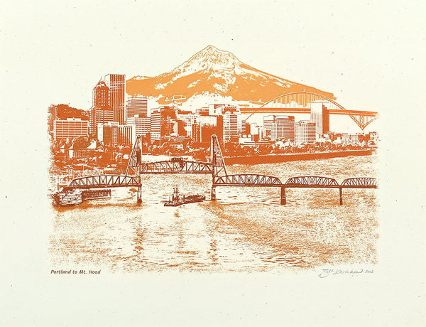 Portland Art Print -- Portland to Mt. Hood at Sunset -- 8.5x11, 11x14, and 16x20 Poster
