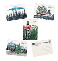 Portland & Oregon Holiday Postcards -- Mixed Set of 8