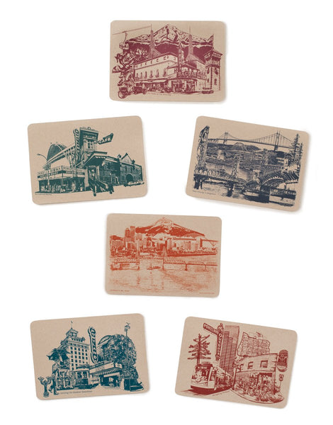 Portland Postcards -- Icons of Portland, Oregon -- Set of 6 Cards