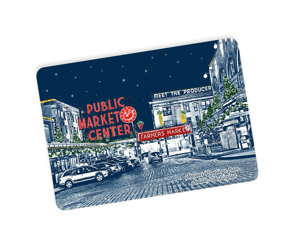 Seattle Holiday Themed Postcards -- Pike Place Market Holiday Style -- Single or Set