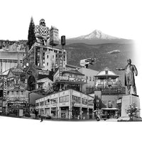 "Portland Archival Pigment Print - ""Portland: East Meets West"" - Limited Edition Fine Art Print - Photomontage - Black and White - Collage"