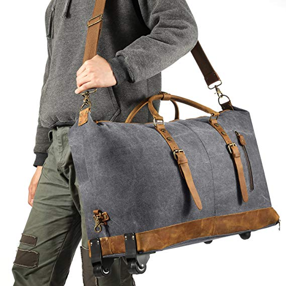 Luggage Rolling Duffel Bag Leather Trim Canvas Wheeled Travel Bag 50L