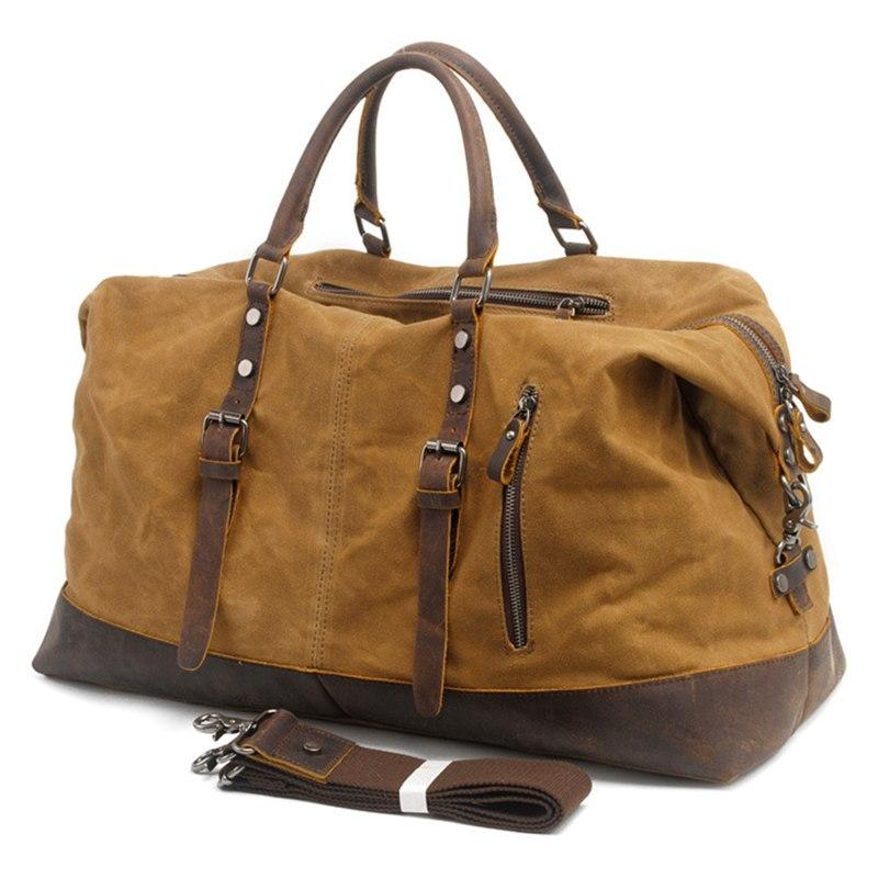 Oil Waxed Canvas Leather Weekender Overnight Bag Oversized Duffels-woosir
