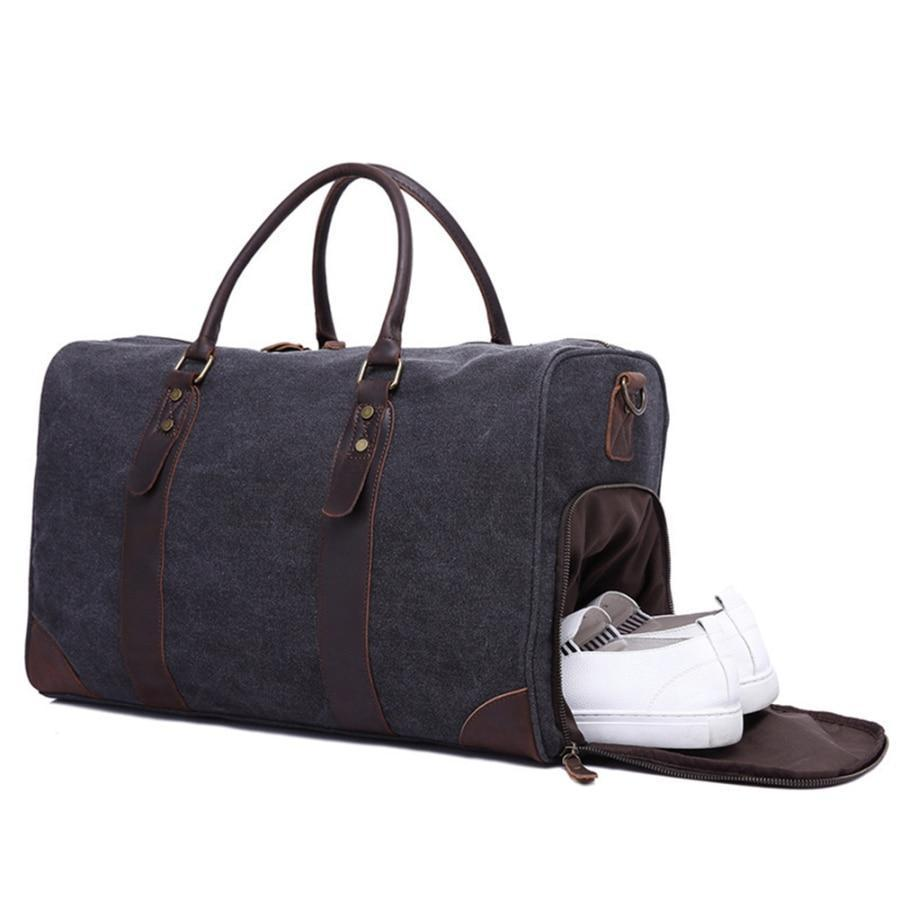 Canvas Duffel Leather Carry On Bag Weekend Overnight Tote-woosir