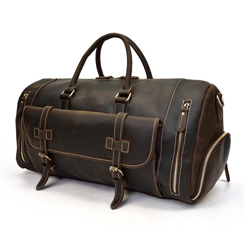 Men's Genuine Leather Travel Duffel Bag 22 inch with Shoe Pocket-woosir